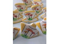 PRETTY cup saucer teapot MODERN ART design cabinet/drawer knobs PORCELAIN x 13