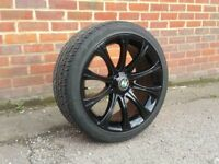 18 inch Staggered & Concaved Black Bmw Alloy Wheels & Tyres (e36 e46 330 Mv2 M3 e60 e90 insignia vw)