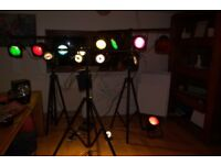 27 piece set stage lighting (everything you need to start up),great for bands, parties, gigs