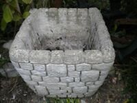 A VERY OLD LARGE STONE GARDEN PLANTER VERY HEAVY 14x14x11 inches