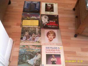 8 disques vinyles de musique country rétro