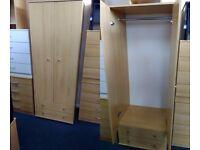 NEW Beech 2 Door 2 Drawer Wardrobe