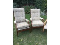 Three old fireside chairs for upcycling