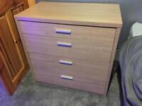Walnut veneer 4 drawer chest drawers - good condition