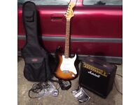 Fender Squier Strat Affinity Guitar Stratocaster & Marshall MG15DFX Amplifier Amp + Qwik Tune Tuner