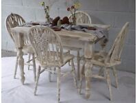 Rustic Solid Pine Farmhouse Dining Table & 4 Chairs
