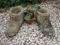 """Pair Of Rustic Stone Boot Planters 14"""" Long."""