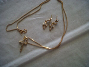 Cross Necklace with Matching Earrings