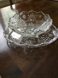 Mikasa Crystal Snowflake Bowl and Platter