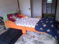Childrens bed with mattress, pillow, sheet and quilt set