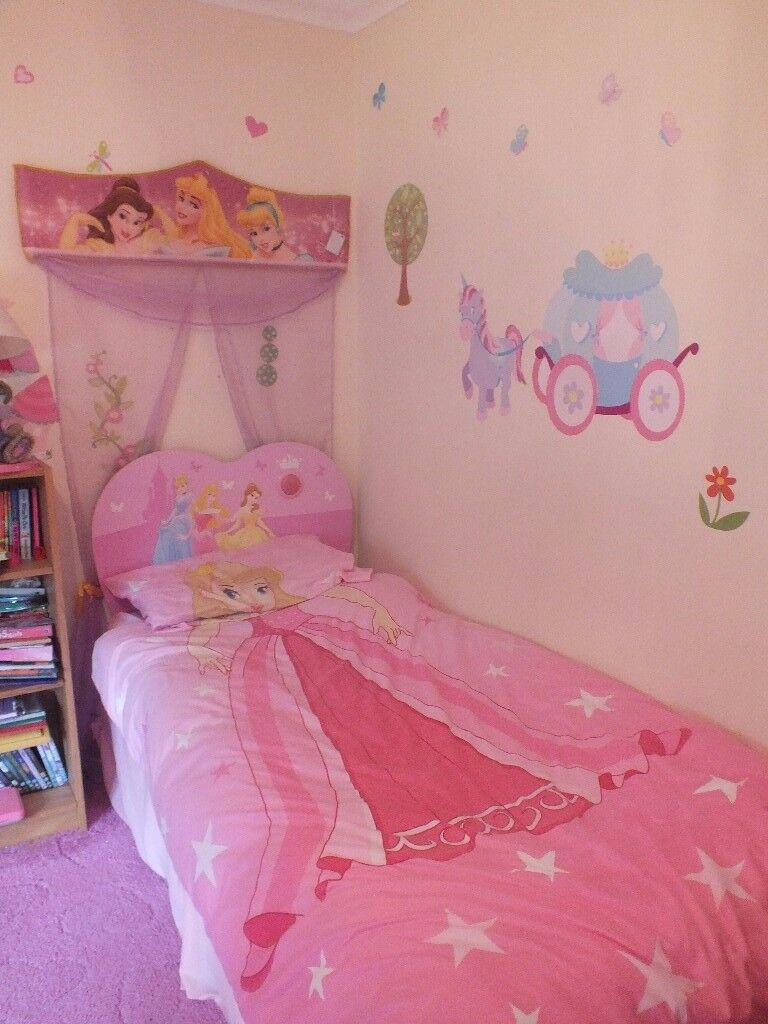 Pink Single Bed With 2 Drawer Storage And Disney Princess Headboard