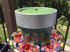 Tabletop Firebowl in green and silver in St Thomas