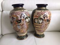 A pair of beautiful hand painted vintage Japanese Large Vases