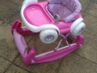 This is sold as a rocker only-it is actually a 2 in 1 convertible walker/rocker but 1 wheel is broke