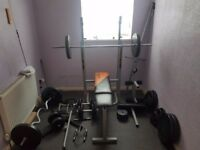 Gym Bench with attachments, barbells, drumbells, weights - Full gym