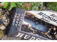 Antique Hudsons Soap Advertising Cast Iron Dog Bowl