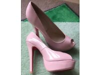 New nude christian louboutin high heels peep toe size 5