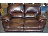 2 seater settee sofa leather double recliners