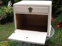 Small Painted Wooden Cabinet with Single Drawer and Drop Down Flap