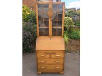 Antique (1920's) oak writing desk / bureau with integral bookcase