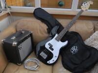 SX PRECISION BASS GUITAR, AMP,BAG AND LEAD