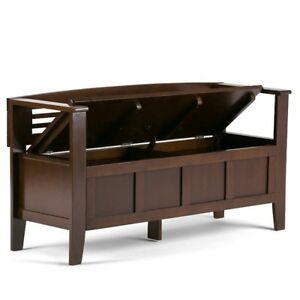 Entry Way Storage Bench Brown Indoor Furniture Seat Back Rest En