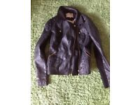 River Island Women's Leather Jacket - Size 10