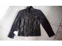 Leather Men's Jacket, Biker Style , 100% Real Leather ,Size L, BRAND NEW with tags Never use