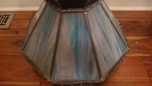 Antique Leaded Stained-Glass (Slag-Glass) Chandelier