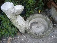 A VERY OLD STONE BIRD BATHAND POT STAND 20X17X14 INCHES