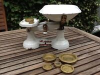 For Sale Vintage Weighing Scales with 7 Brass Weights