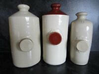 3 Old Fasioned Stone Hot Water Bottles.