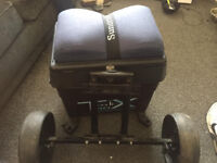 fishing seat box and wheel kit with octoplus legs