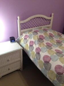 White Wicker Trundle Bed (Single and Single) and side table