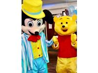 Mickey mouse and winnie the pooh mascot costume for hire-- birthday celebrations