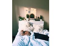 White Ikea double bed and headboard