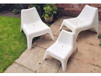 White Outdoor Relax Chairs (2 Large, 1 Small)