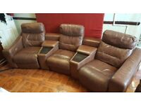 Pure leather electric recliners sofa with buil in tables, 3yrs old.(bought 4 £4500),bargain at £350