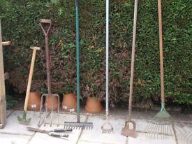 Garden Tools - various - edging tool, rake, hoe, hand shears, broom, broomhead, fork