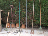 Garden Tools - various - edging tool, rake, hoe, hand shears, broom, broomhead, fork