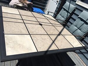 Patio table with ceramic tile