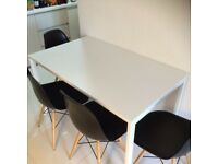 White dinning table with 2x white chairs