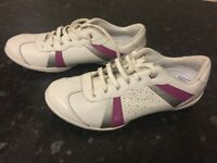 Barely worn white bootleg trainers
