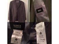 """M&S Men's Grey Trouser Suit Jacket 48"""" Long /Trousers 42"""" Waist 31"""" Length"""