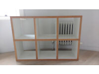 2 x white cube shelving storage units available with wood detail
