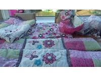 Beautiful cot bedding set includes a full set of cot bumpers, quilt, 3 fitted sheets and more