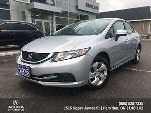 2015 Honda Civic LX BALANCE OF FACTORY WARRANTY!