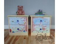 Pair of beautiful, one of a kind up-cycled hand painted kids bedside drawers/tables
