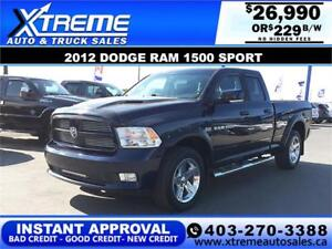 2012 Dodge Ram 1500 Sport *INSTANT APPROVAL*  $0 DOWN $229/BW!