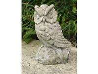 Vintage Cute Cast Stone Owl Garden Ornament Garden Statue 20cm Tall